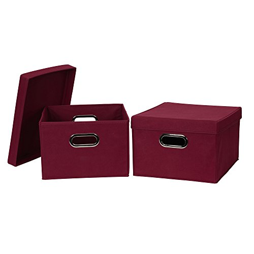 Household Essentials 10KDBG Collapsible Fabric Storage Box with Lid, 2 Pack, Burgundy, Red