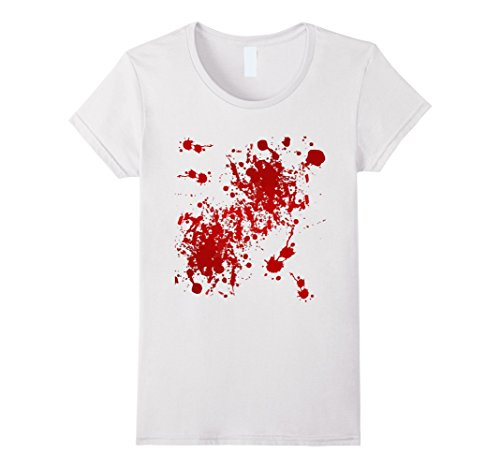Womens Fake Blood Splatter T-Shirt Large White - Murder Mystery Costumes