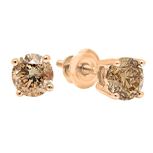 - 1.00 Carat (ctw) 14K Rose Gold Round Cut Champagne Diamond Ladies Stud Earrings 1 CT