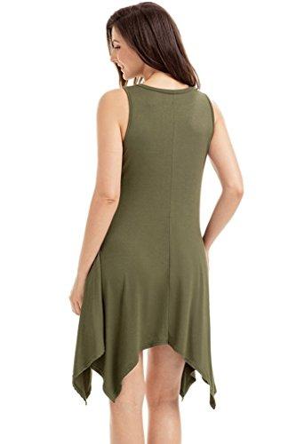 Dress irregular Green Sexy T skirt sleeveless hem shirt Mini Women's 87RHnq