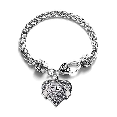- Inspired Silver - Cat Lady Braided Bracelet for Women - Silver Pave Heart Charm Bracelet with Cubic Zirconia Jewelry