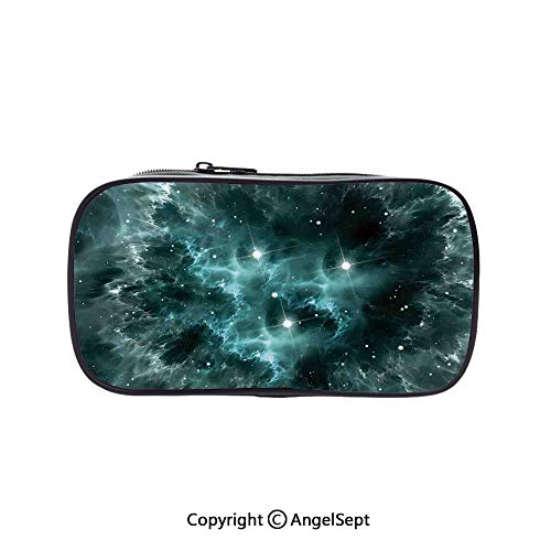 Cute Pencil Case - High Capacity,Space Nebula in The Space with Crystal Star Cluster Galaxy Solar System Cosmos Print Teal 5.1inches,Multifunction Cosmetic Makeup Bag,Perfect Holder for Pencils and P