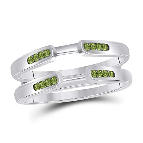 Vintage 14k White Gold Plated Delicate Traditional Style Channel Set Enhancer Ring Guard with CZ Green Peridot (0.25 ct. tw.)