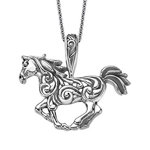 Kabana Horse Fancy Scroll Pendant in Sterling Silver w/Chain ()