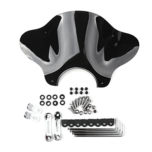 Areyourshop Universal Motorcycle Windshield Windscreen with Mounting kit for Cruiser