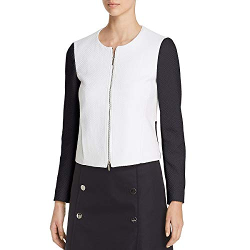 Hugo Boss Womens Koralie Textured Two-Tone Collarless Blazer B/W 0 Black/White (For Hugo Women Suit Boss)