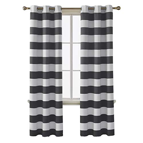 ut Curtains Striped Pattern Curtains Thermal Insulated Grey and Greyish White Curtains for Bedroom 42W X 84L Gray 2 Panels ()