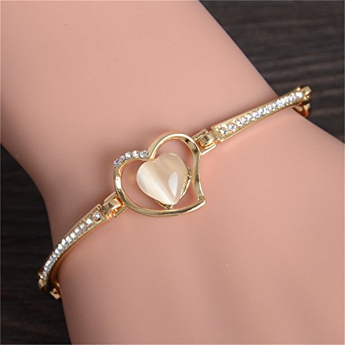Olive Tayl NEW Fashion Gold Color Charm Bracelet For Women Flower Bracelet Natrual Cats's Eye Stone Crystal Beads Diy Jewelry (Bracelet Cat Eye Flowers)