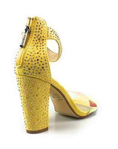 Bambù Rampage 04 Womens Sandalo Con Tacco Massiccio A Fascia Con Cinturino Alla Caviglia (9, Giallo)