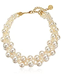 Ben-Amun Jewelry Woven Collar Faux-Pearl Strand Necklace