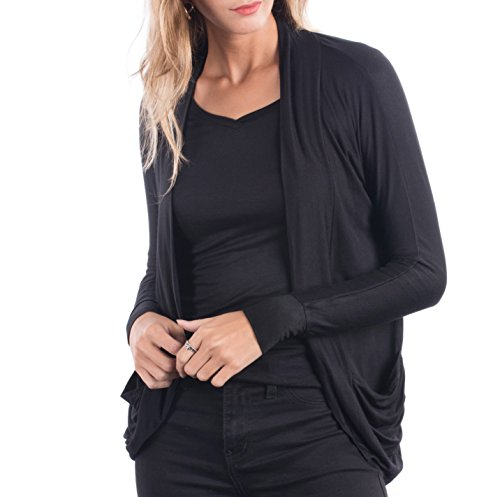Glitz Junior Ladies Long Sleeve Cardigan, Womens Open Front Lightweight Casual Sweater With Dolman Sleeves and Shirred Pockets, Basic Stylish Girls Top