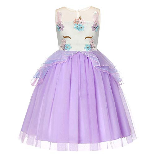 Baby Girls Unicorn Dress Flower Princess Dress up Birthday Party Prom Sleeveless Tulle Gown for 5-6 Years(Purple) ()