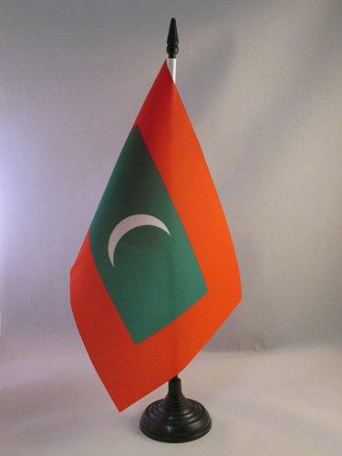 AZ FLAG Bandiera da Tavolo Maldive 21x14cm - Piccola BANDIERINA MALDIVIANA 14 x 21 cm