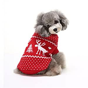 Puggy Clothes,Haoricu autumn Spring Winter Dog Vest Cat Pet Clothes Apparel Christmas Sweater Costume (S, Red)