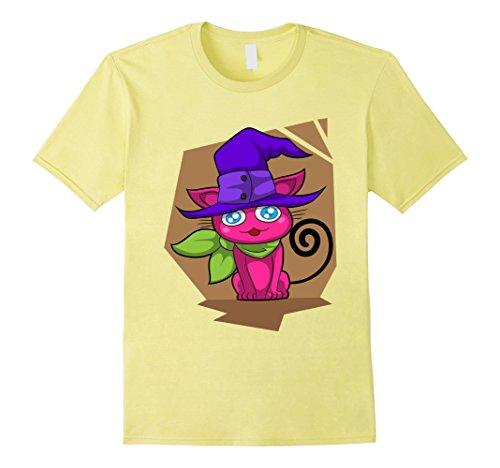 Killer Kitty Costume (Mens Scary Cat T-Shirt - Kitty Killer Halloween Smiling Tee Medium Lemon)