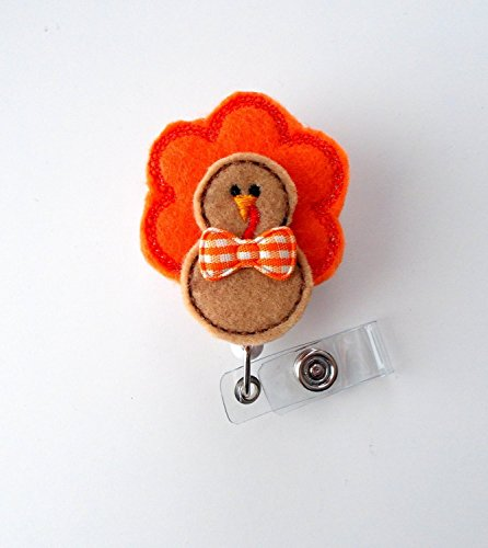 Tom The Turkey - Retractable Id Badge Reel - Name Badge Holder - Cute Badge Reel - Nurse Badge Holder - Nursing Badge Clip - Unique Badge Reel - Felt Badge - Alligator Clip