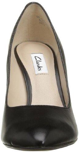 Clarks Azizi Isis 203572294 - Zapatos de tacón de cuero para mujer Blanco (Weiß (Black Leather))