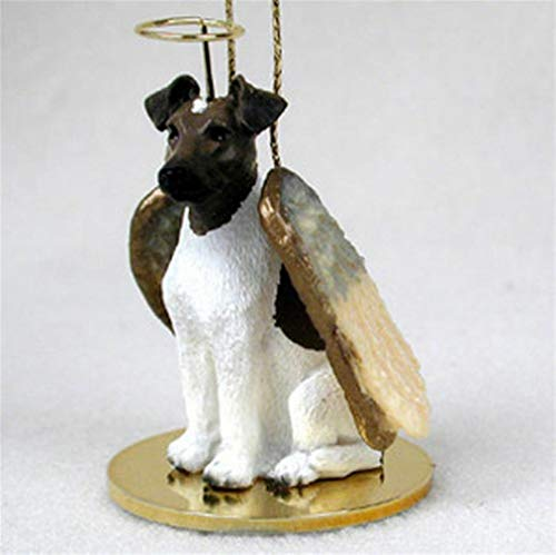 Ky & Co YesKela Fox Terrier Ornament Angel Figurine Hand Painted Brown/White ()