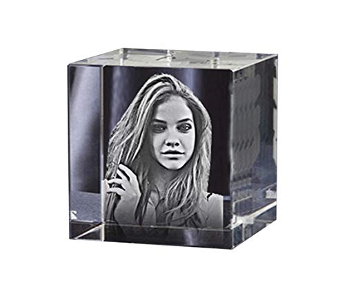 aperweight/Custom Gift - Your Picture and Text Engraved Inside The Cube Crystal Block ()