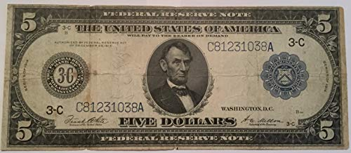 1914 $5 Five Dollar Federal Reserve Large Note Philadelphia 3C Blue Seal - Federal Reserve Note Blue Seal