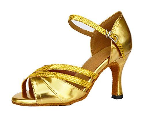 Tda Kvinners Mid Hæl Peep Toe Pu Lær Salsa Tango Ballroom Latin Moderne Dansesko Gull