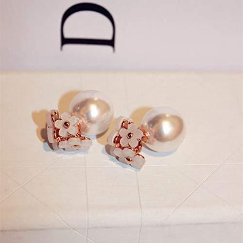 Double-Sided Bubble Earrings Earring Dangler Eardrop Creative Before After Fashion Cute Little Daisy Flower Pearl Women Girls (White