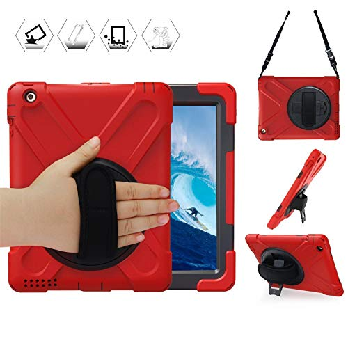 DreamerX Apple iPad 2 3 4 Case, Hybrid Full Body 3 Layer Armor Rugged Protective Shockproof iPad Case Cover with Hand Grip/Rotating Kickstand/Shoulder Strap for iPad 2nd 3rd 4th Generation Kids, Red