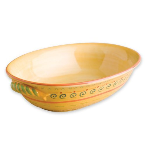 Pfaltzgraff Villa della Luna 1-1/2-Quart Oval Vegetable Bowl, Yellow