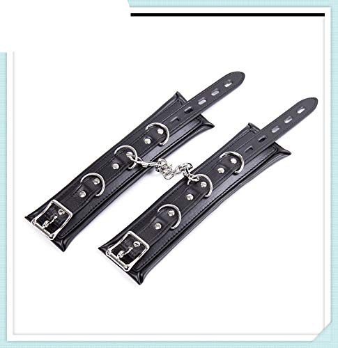 Soft Padded Black PU Leather Handcuffs Anklecuffs, Hand Cuffs Ankle Cuffs,Sex Bondage Restraints BDSM Sex Toys for Couples Ankle Cuffs