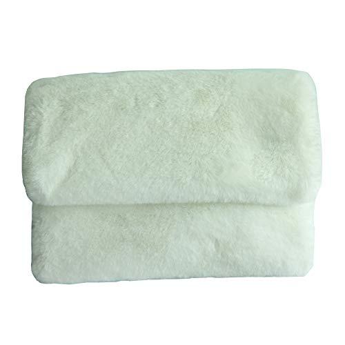 Women Purses and Handbags Faux Fur Envelope Evening Clutch bags (White)