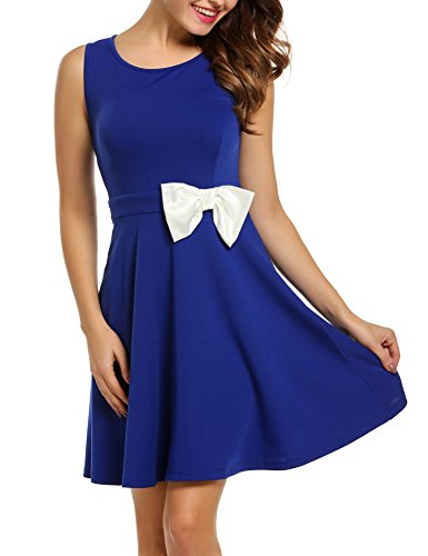 ACEVOG Women's Classy Party Bow Pleated Cocktail Dress