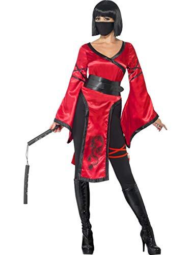 5 PC Samurai Ninja Warrior Assassin Red Dress & Leggings w/Accessories Costume