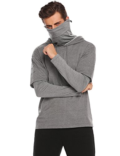 COOFANDY Men's Adult Mock Turtleneck Pullover Hooded Sweatshirt Long Sleeves Shirt