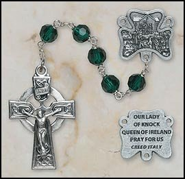 Emerald Crystal Rosary Beads (Emerald Our Lady of Knock Irish Rosary MM Austrian Tin Cut Emerald Crystal Bead)