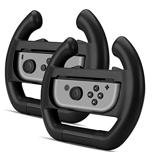 TNP Joy-Con Wheel Controller for Nintendo Switch(Set of 2) - Racing Steering Wheel Controller Accessory Grip Handle Kit Attachment (Black) - Nintendo Switch