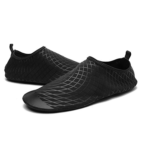 GinkgoTree Barefoot Quick-Dry Water Shoes Men Women Aqua Shoes for Swimming, Walking, Driving, Yoga, Beach (XL (US Women: 11-12/Men: 9.5-10), Black, 423)