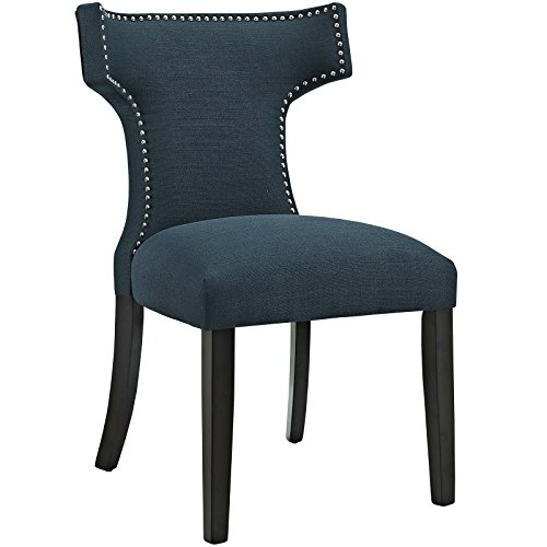 (Modway Curve Mid-Century Modern Upholstered Fabric Dining Chair With Nailhead Trim In Azure)
