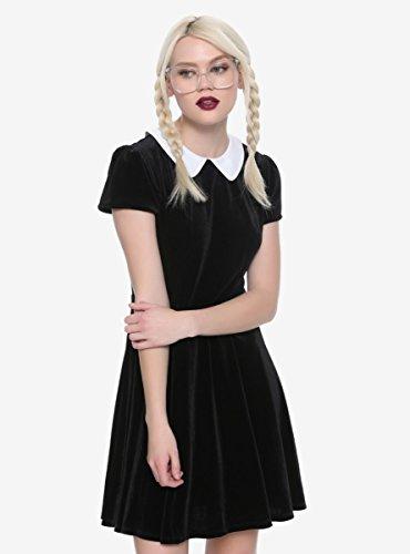 Hot Topic Black Velvet White Collar Dress