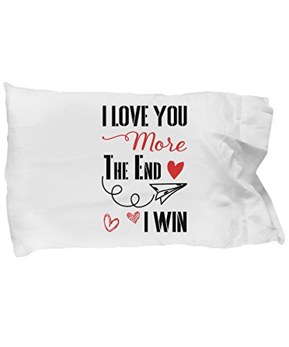 - 41JBoJqu14L - EpicMugs Love You More The End I Win Pillow Case – Funny Valentine Gift – Gift for couple – Lover gift – Valentine's Day Gift