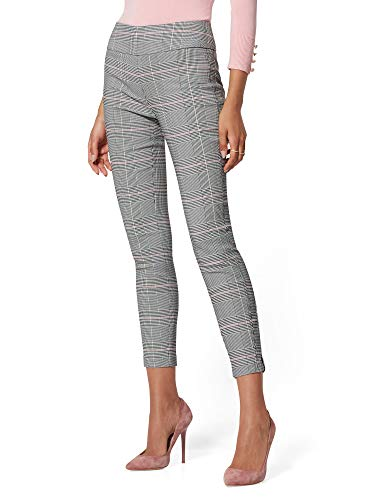 New York & Co. 7Th Avenue Pant - Pink Plaid Small Rosy Dream