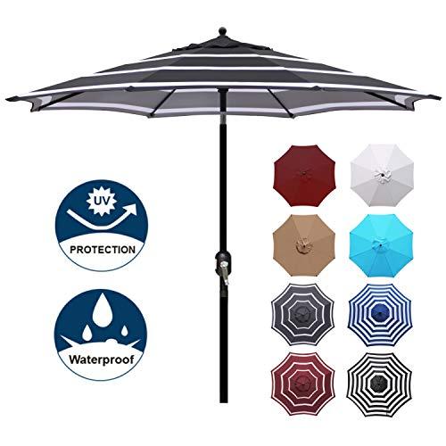 Blissun 9′ Outdoor Aluminum Patio Umbrella, Market Striped Umbrella with Push Button Tilt and Crank (Black & White)