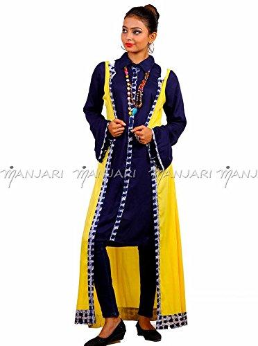 Designer Blue Reyon Kurta With Yellow Floor Length Koti By Manjari