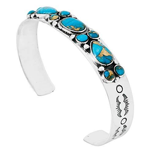 (Turquoise Bracelet Sterling Silver 925 Genuine Turquoise Gemstones Cuff Bracelet (Teal/Matrix Turquoise))