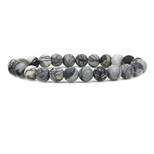 Bracelet Beads Jasper Stretch Round (Amandastone Natural Matt Frosted Picasso Jasper Gemstone 8mm Round Beads Stretch Bracelet 7