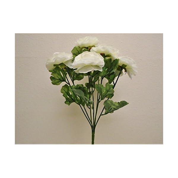 "CREAM Ranunculus Bush Artificial Silk Flowers 19"" Bouquet 822CR"