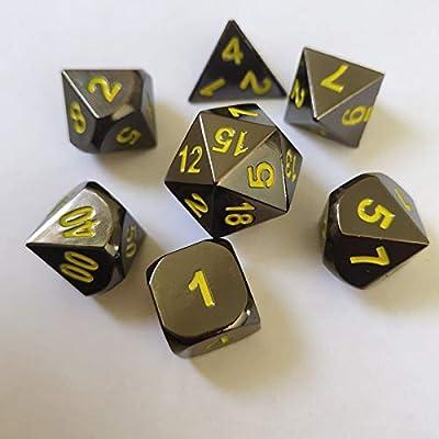 WHFDSBD Dados Poliédricos,Cute Black Metal Amarillo Dados Set D&Amp;D DND Poliédricas Y Dragones Dados para Juegos De Mesa RPG-DND Dados De Metal: Amazon.es: Hogar