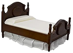 Wooden Dollhouse Queen Bed   Dolls House Furniture Queen Bed  Dark Brown 1/ 12 Scale