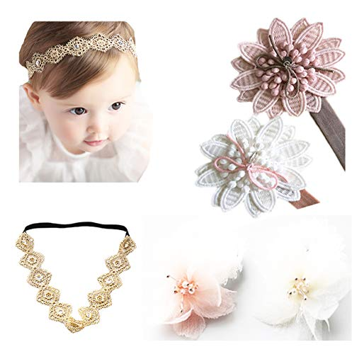 DANMY Baby Girl Super Stretchy Headband Big Lace Petals Flower Baby Hair Band...