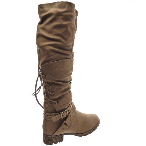 Kickly - Chaussure Mode Botte Cuissarde Cavalier cuissarde femmes lacets arrières Talon bloc 3.5 CM - Intérieur textile - Taupe