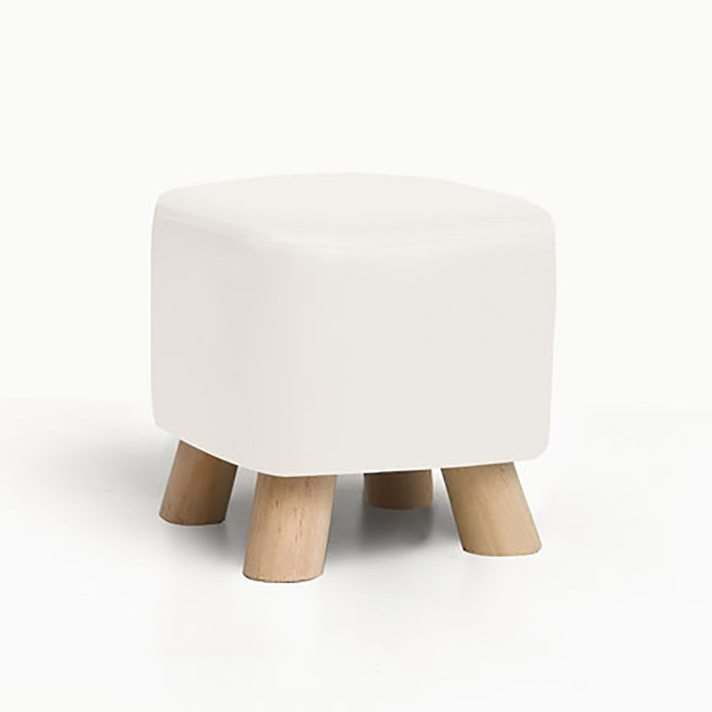 D&L Solid wood Square Footstool, Ottoman Pouffe Chair Stool Faux leather Cover And 4 legs Sofa Home Low Stool-White L28xW28xH25cm